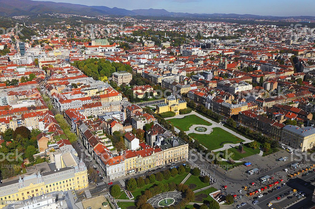 Zagreb town from the air stock photo