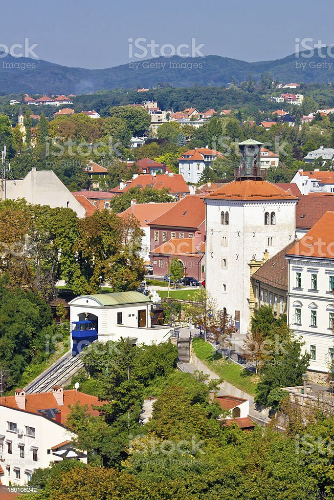 Zagreb upper town cable car vertical view, Croatia
