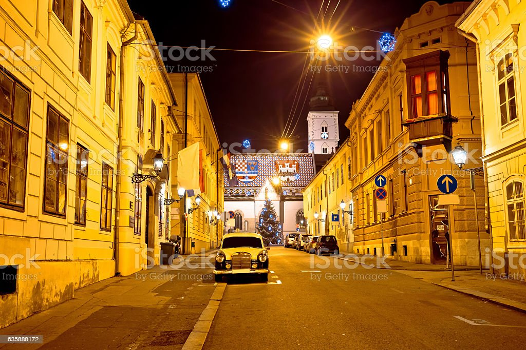 Zagreb upper town street evening view stock photo