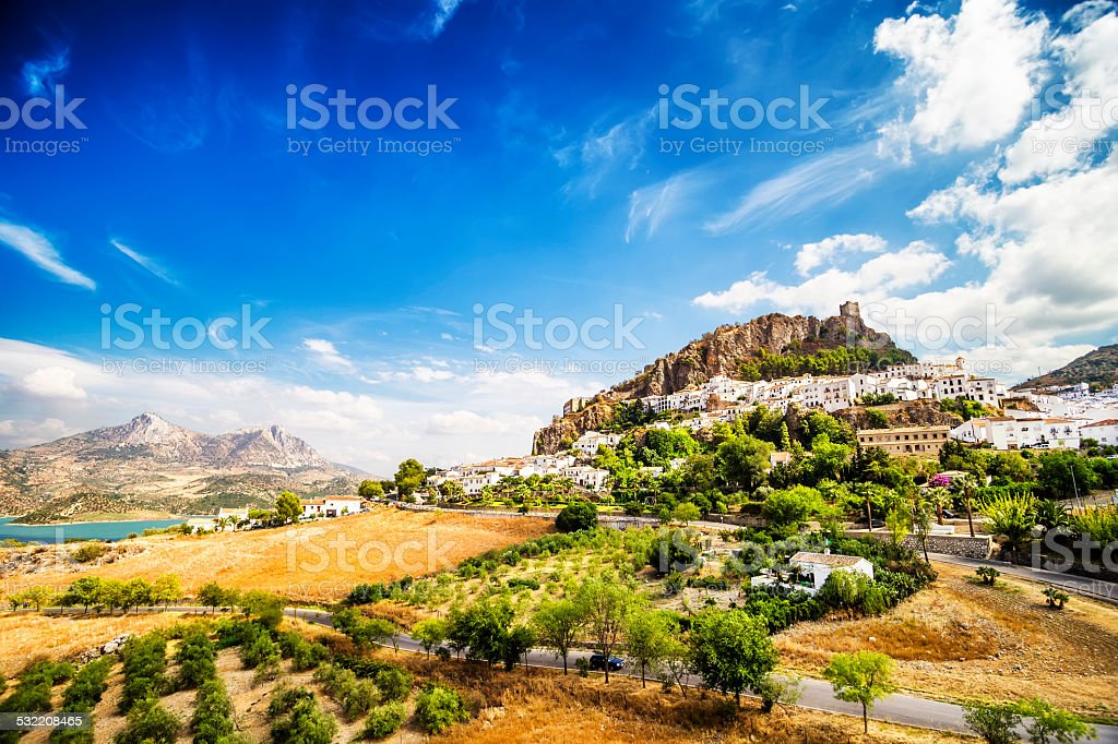 Zahara de la Sierra,town located in Cadiz, Andalusia, Spain stock photo