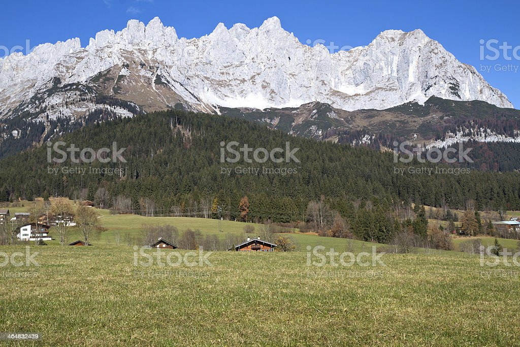 """Zahmer Kaiser"" mountains in Tyrol, Austria stock photo"