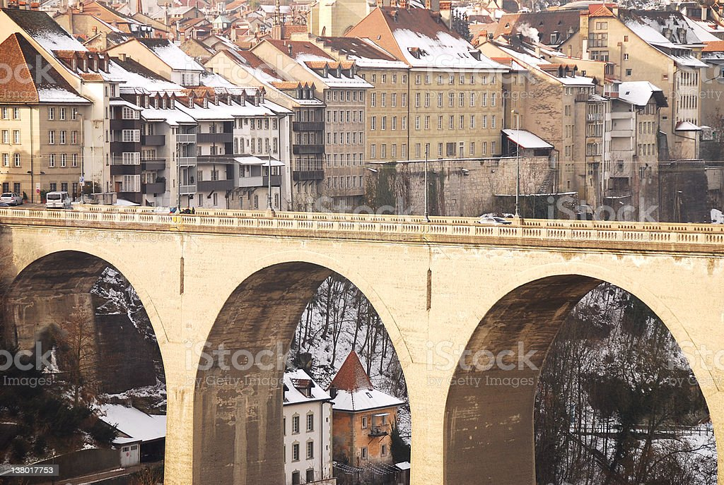 Zahringer Bridge, Fribourg royalty-free stock photo