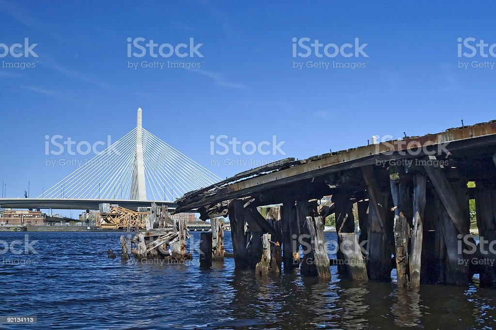 Zakim Bridge and old pier royalty-free stock photo