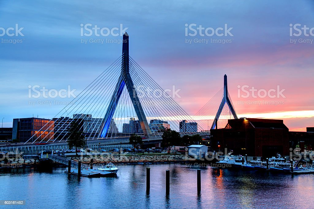 Zakim Bridge in Boston Massachusetts stock photo