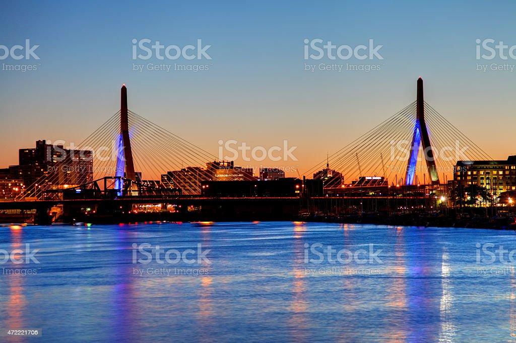 Zakim Bridge in Boston stock photo
