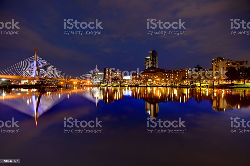 Zakim Bridge reflection on the Charles River in Boston stock photo