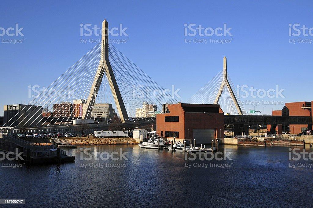 Zakim Bunker Hill Bridge, Boston royalty-free stock photo
