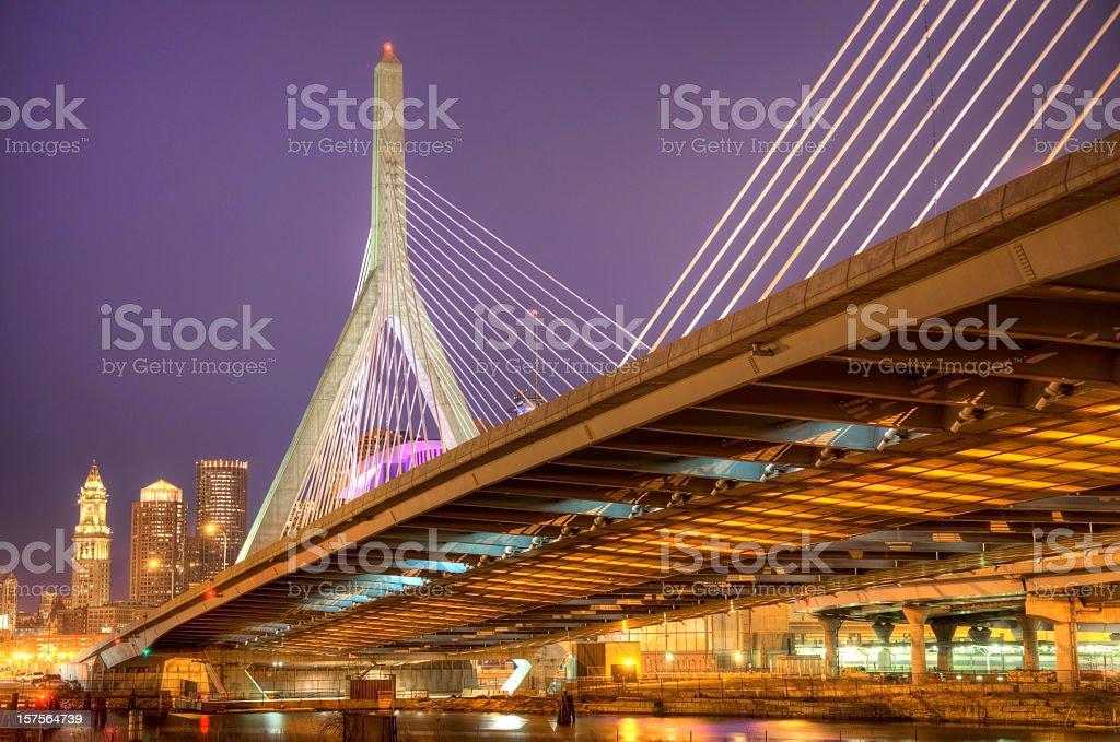 Zakim Bunker Hill Memorial Bridge Boston royalty-free stock photo