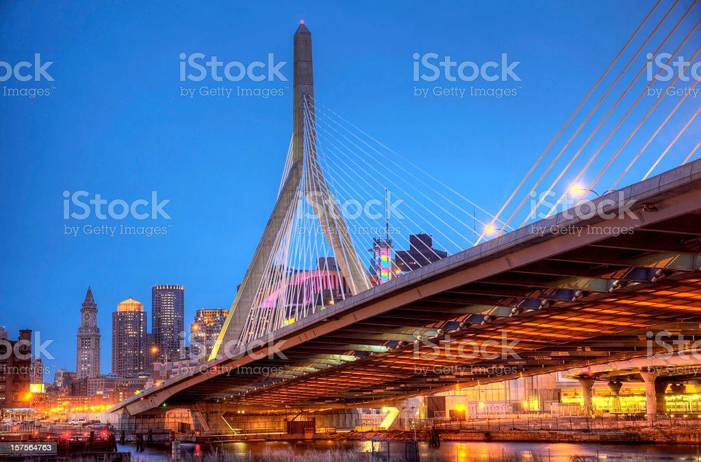 Zakim Bunker Hill Memorial Bridge stock photo