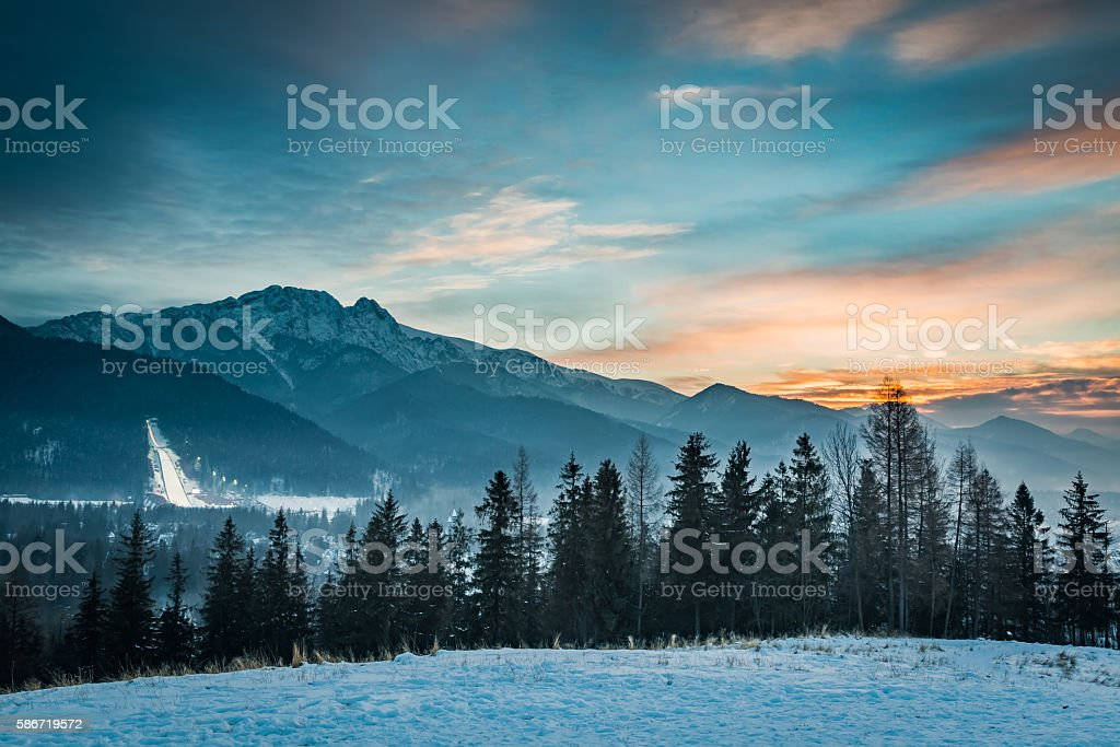 Zakopane during the skiing competitions at sunset in winter, Poland stock photo