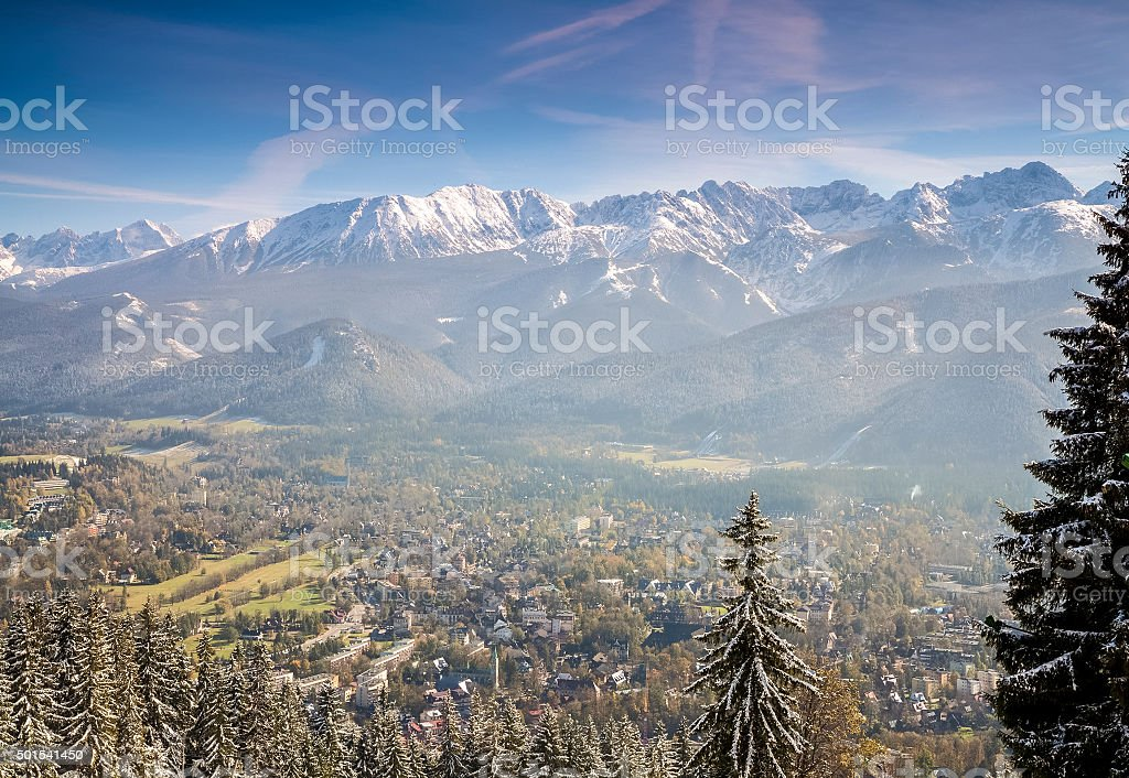 Zakopane winter panorama, Poland stock photo