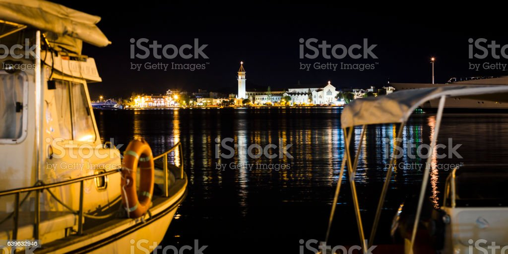 zakynthos at night stock photo