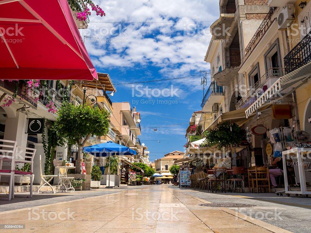 Zakynthos town, shopping street 21st Maiou street. stock photo