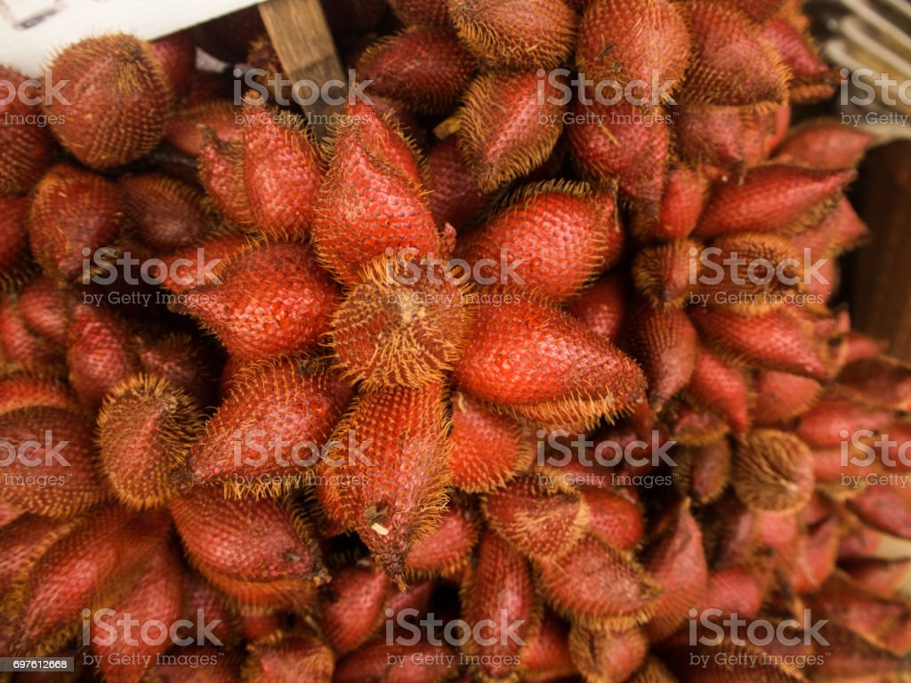Zalacca tropical fruit on sales in the Thailand. stock photo