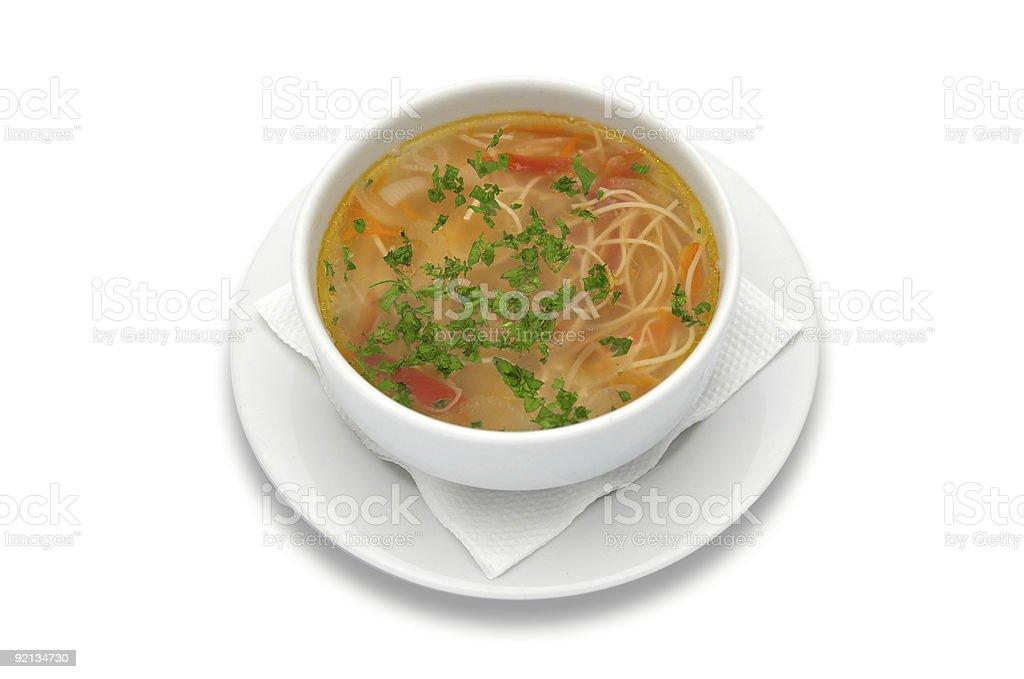 zama (zeama), romanian and moldavian chicken soup stock photo