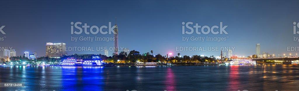 Zamalek night panoramic stock photo
