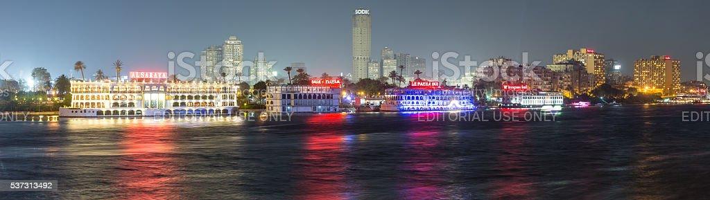 Zamalek restaurant boats at night stock photo
