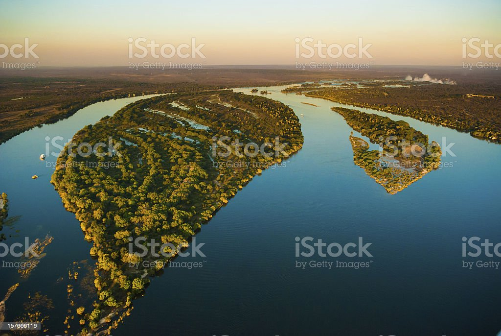 Zambezi river from the air royalty-free stock photo
