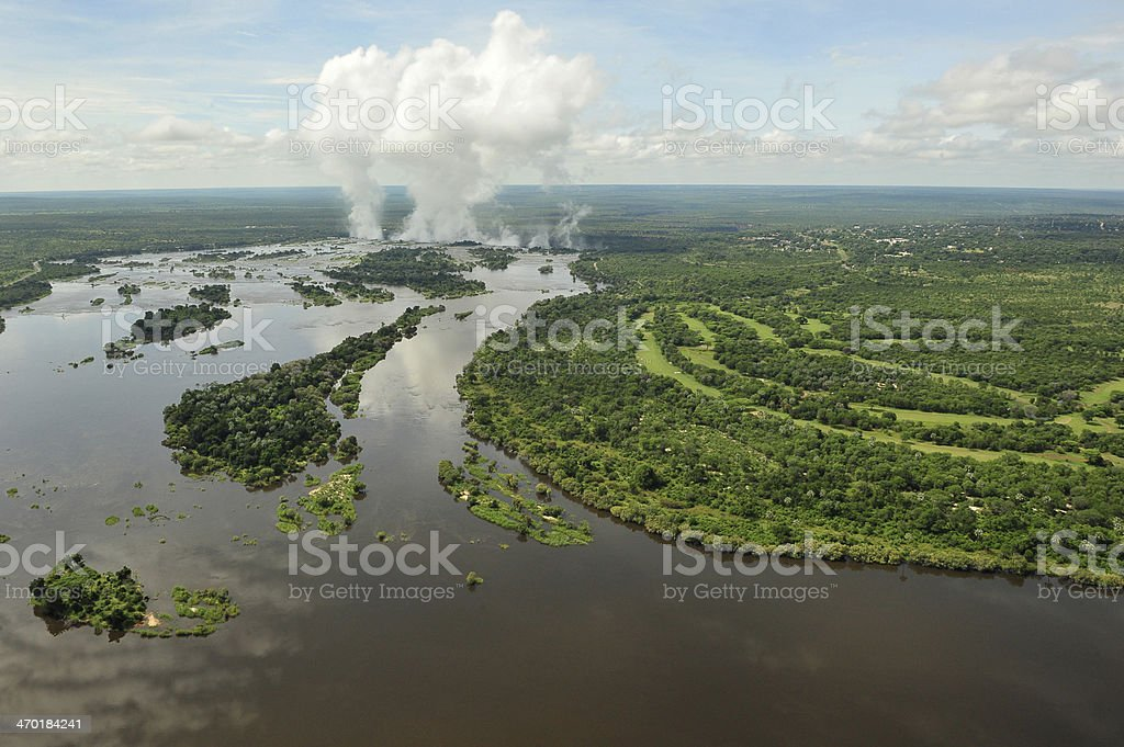 Zambezi River seen from a helicopter stock photo