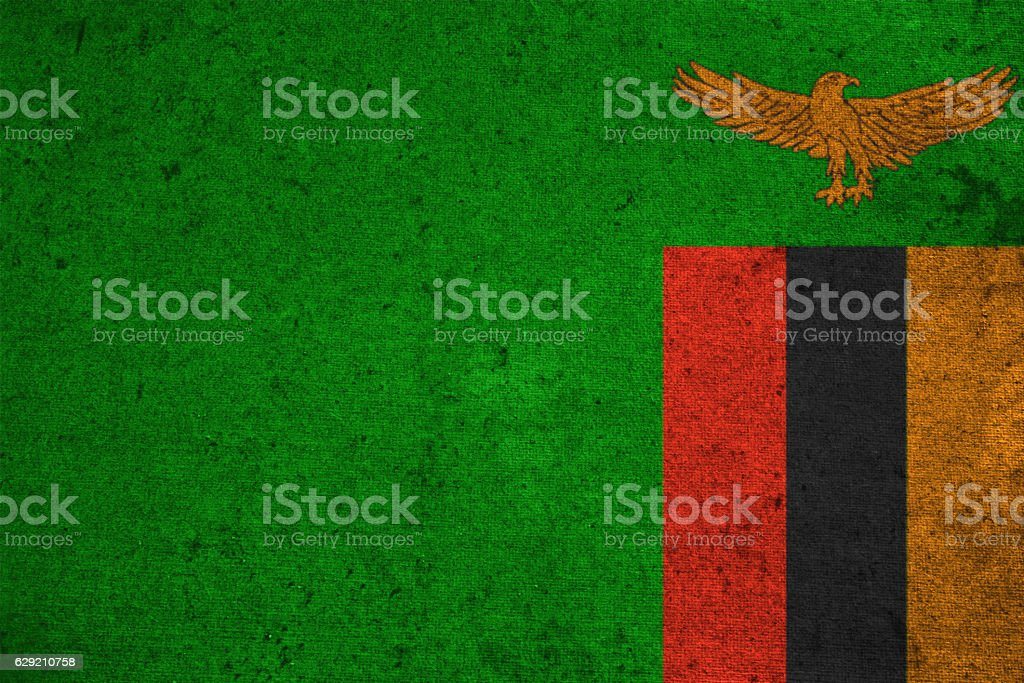 Zambia flag on an old grunge background stock photo