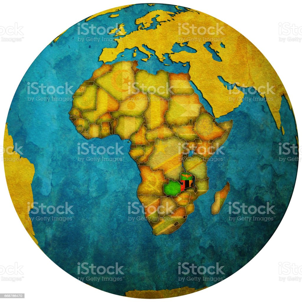 zambia territory with flag on map of globe stock photo
