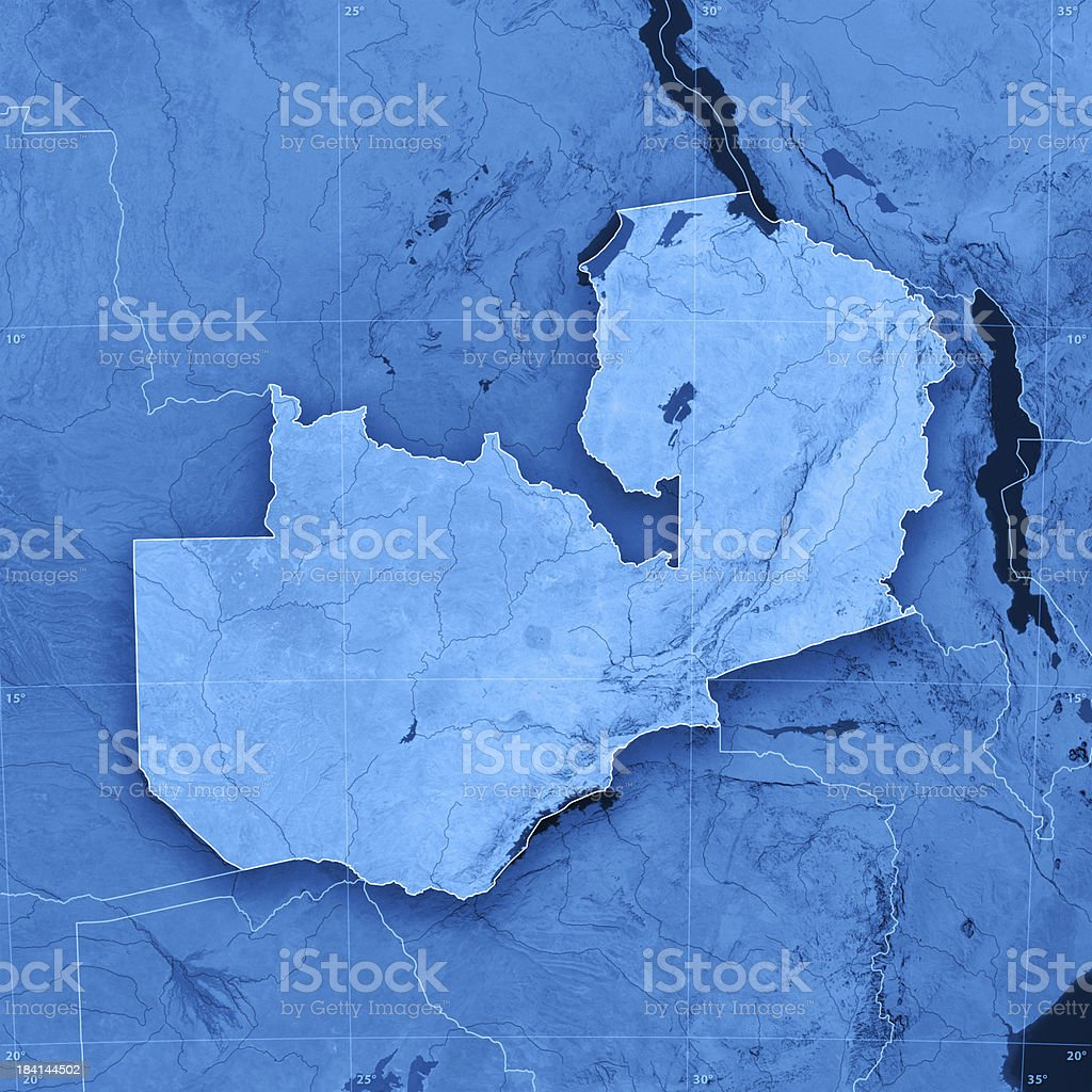 Zambia Topographic Map royalty-free stock photo