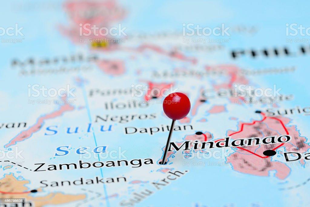 Zamboanga pinned on a map of Asia stock photo