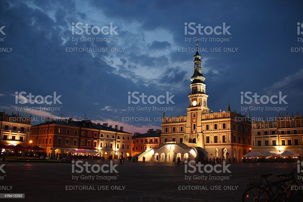 Zamosc old town at night stock photo