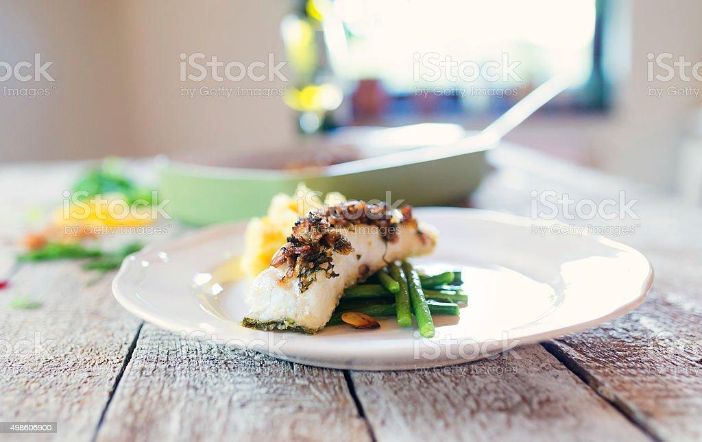 Zander fish fillet dish on a plate stock photo