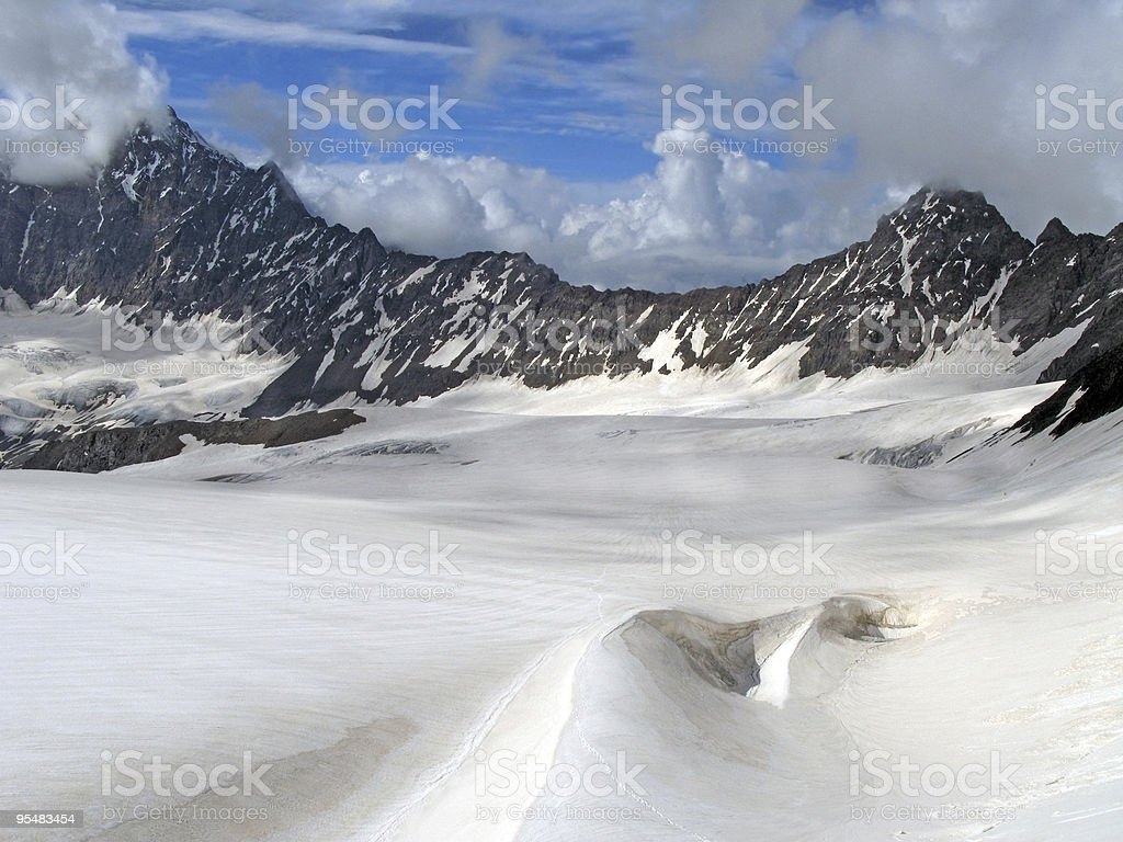 Zanner glacier at Bezenghi of Caucasus mountains stock photo