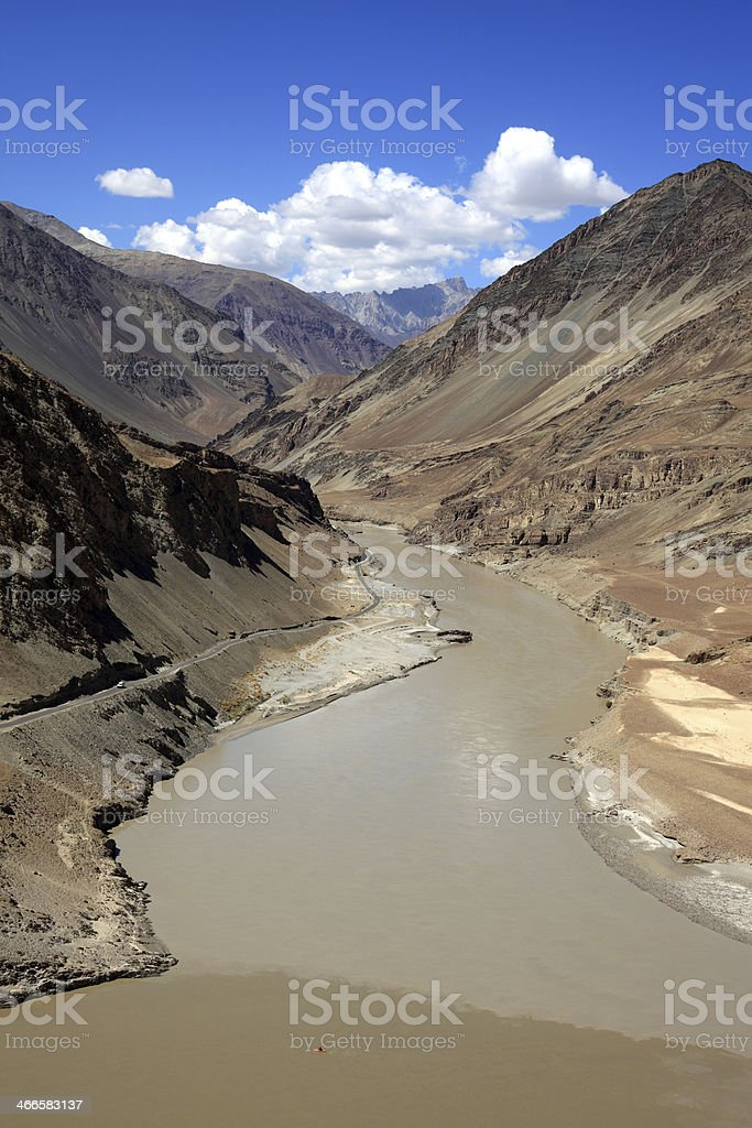 Zanskar and Indus river confluence royalty-free stock photo
