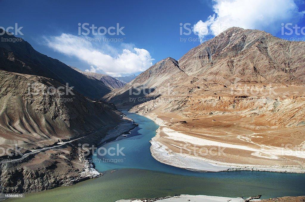 Zanskar and Indus rivers stock photo
