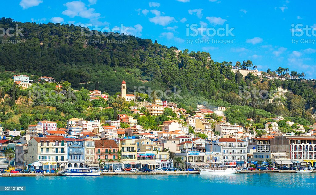 Zante town panorama from the sea. Sunny summer day on stock photo