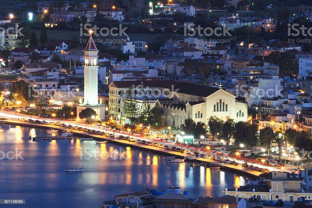 Zante Town Zakynthos Greece at night. Center of the city, stock photo