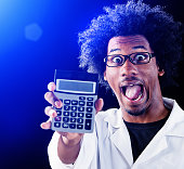 Zany scientist looks triumphant, holding up calculator