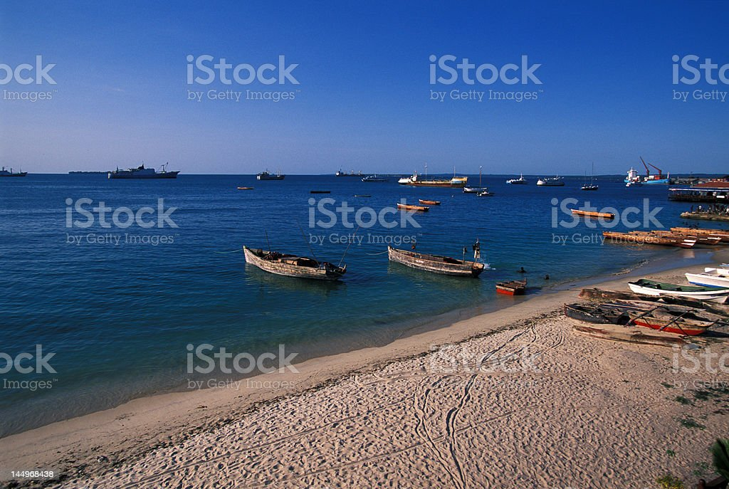 Zanzibar harbour beach royalty-free stock photo