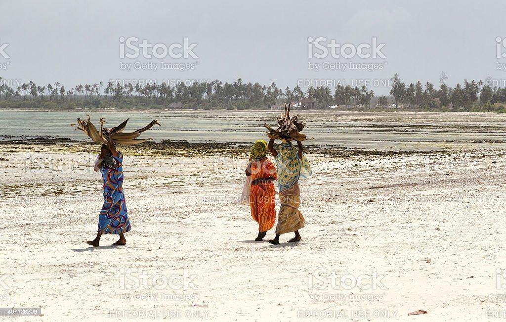 Zanzibarian Women walking on the beach stock photo