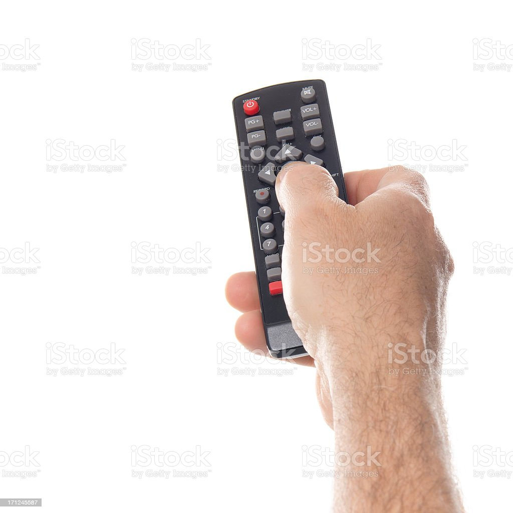 Zapping with tv remote control stock photo
