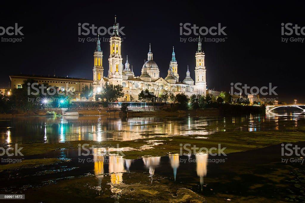 Zaragoza at night stock photo