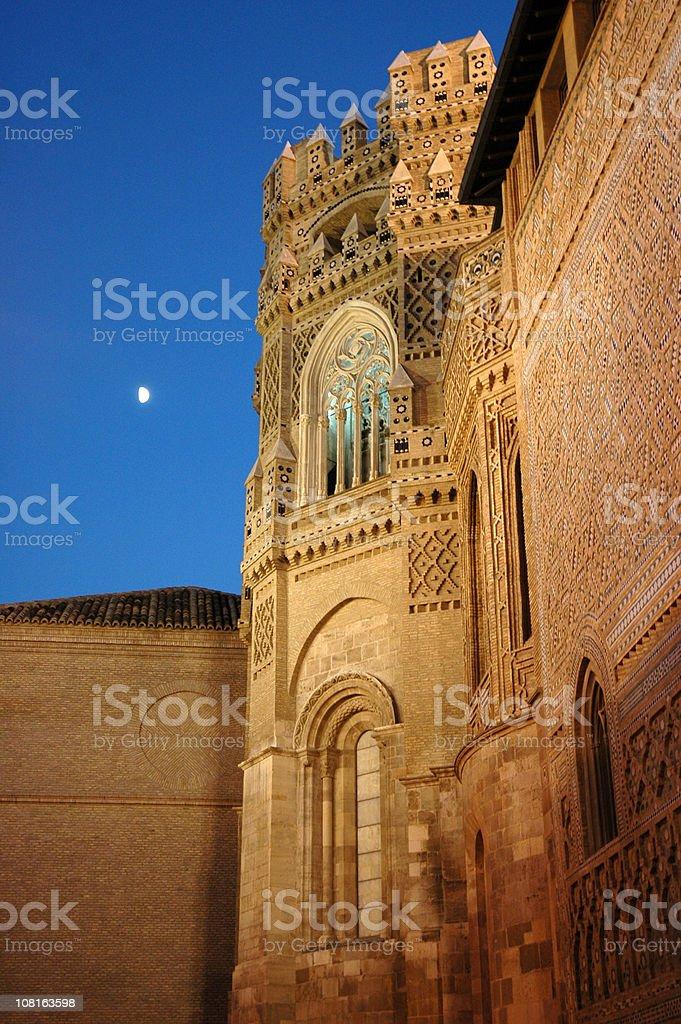 Zaragoza Cathedral of the Savior at Night stock photo