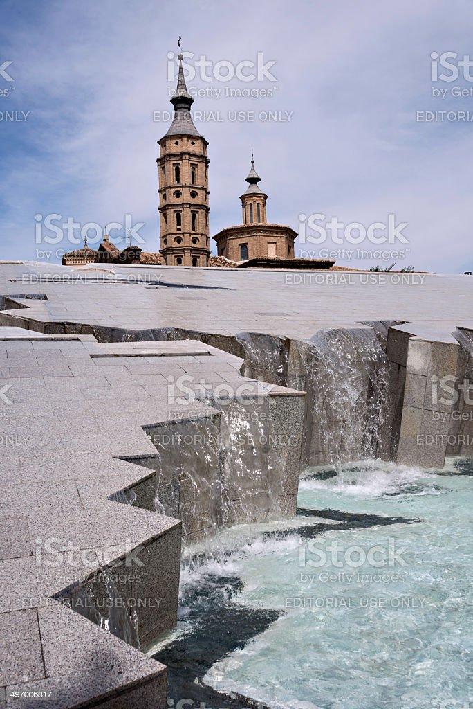Zaragoza (Spain) - Plaza del Pilar, fountain stock photo