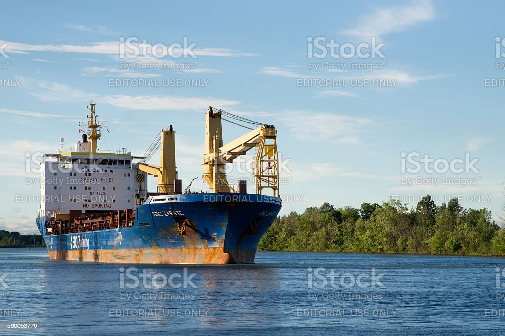 BBC Zarate General Cargo Vessel navigating the Welland Canal stock photo