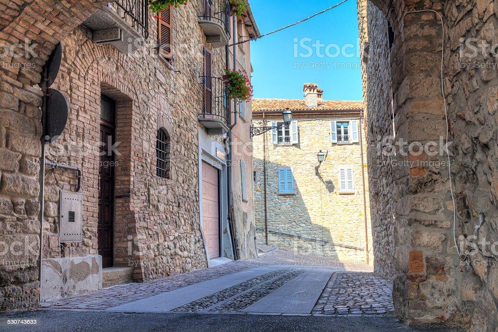 Zavattarello village, old city, Oltrepo Pavese. Color image stock photo