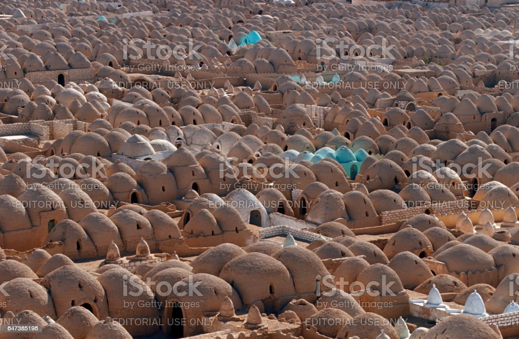'Zawiyat al-Mayyit Seen' Hundreds of tombs crammed together at the City of the Dead.  El Minya stock photo