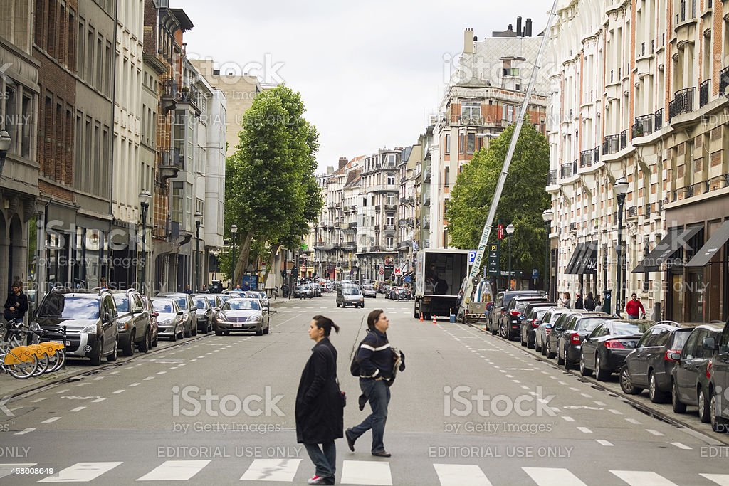 Zebra crossing in Brussels center stock photo