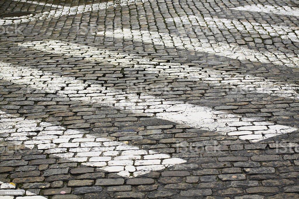 Zebra crossing on cobblestone stock photo