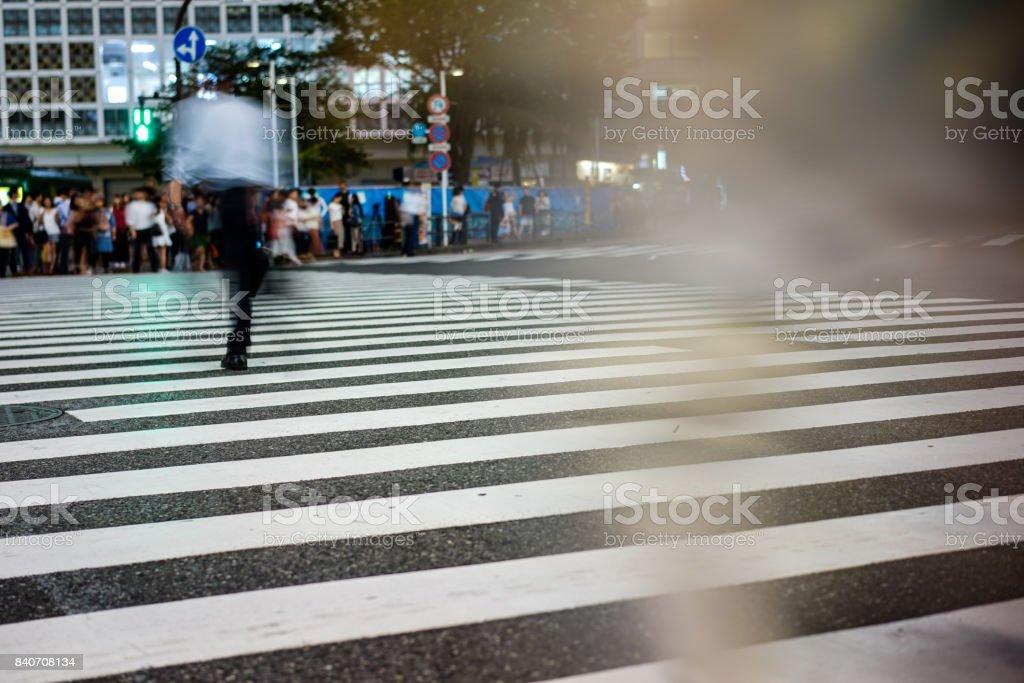 Crosswalk and pedestrian at modern city zebra crossing street with...