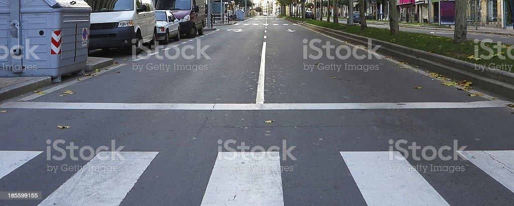 Zebra crossing white color royalty-free stock photo
