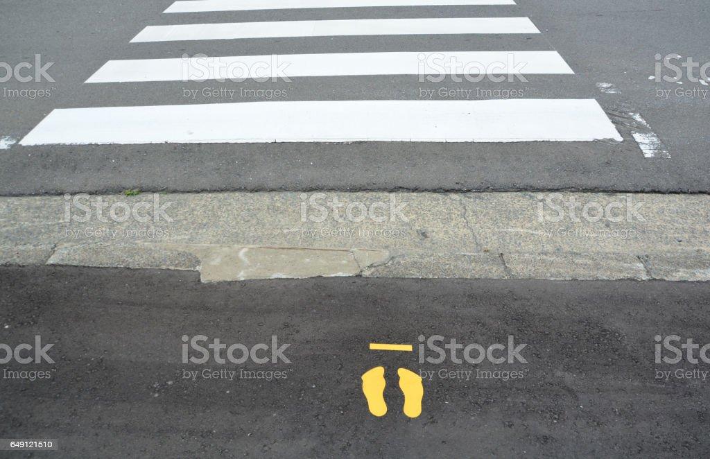 Zebra crosswalk on the road stock photo
