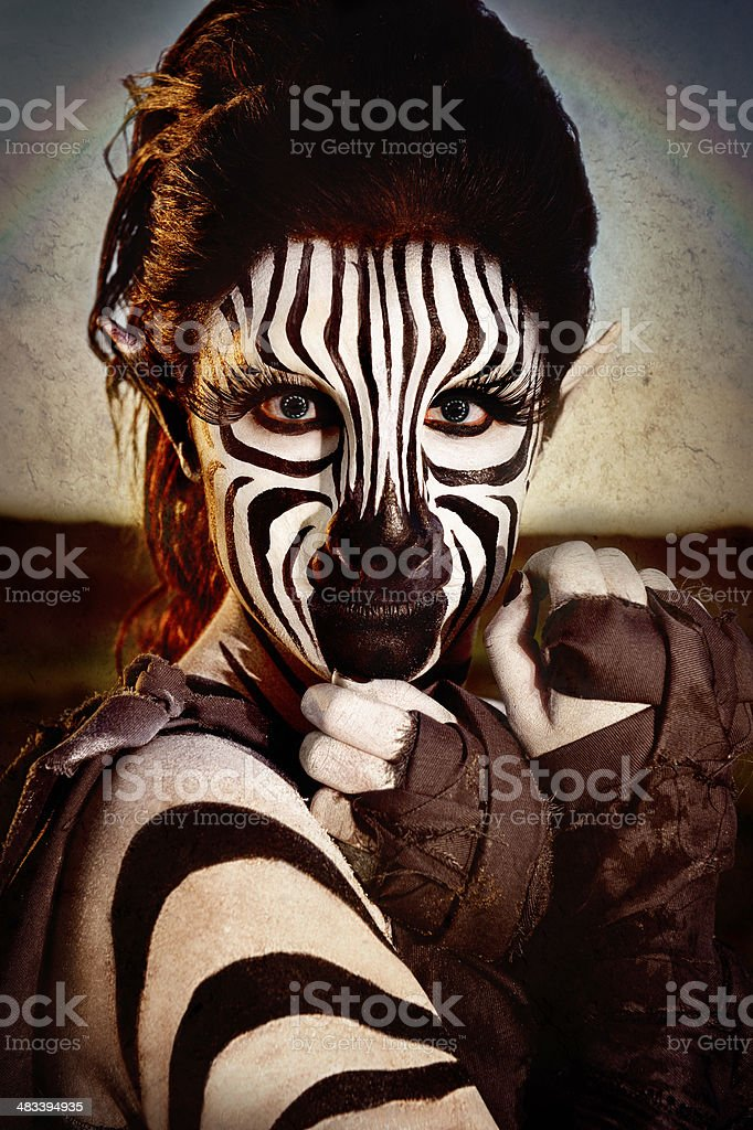 Zebra Humanoid - Female royalty-free stock photo